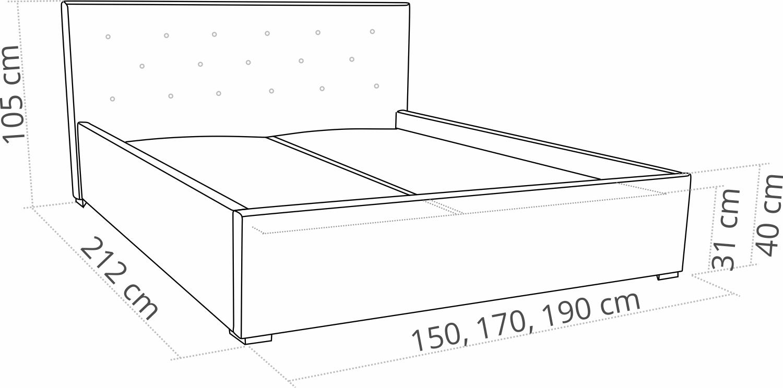 łóżko Tapicerowane 140 X 200 Star