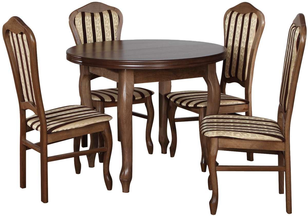 Zestaw Okrągły Stół Z Krzesłami Dla 4 Osób Rustikal Z029
